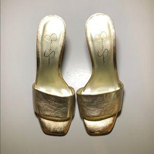 Jessica Simpson Light Gold Clarina Mules/Slides